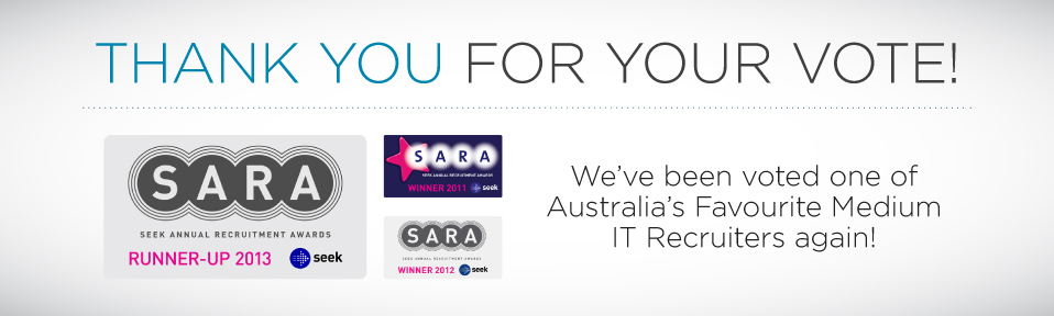 2 years running! Winners of Australia's Favourite IT Recruiter - Medium category.